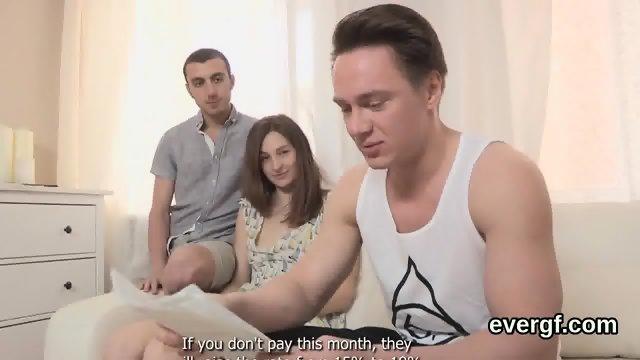 Flat broke man allows horny friend to nail his girlfriend for bucks