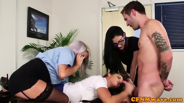 CFNM office babe sucking off cock - scene 10