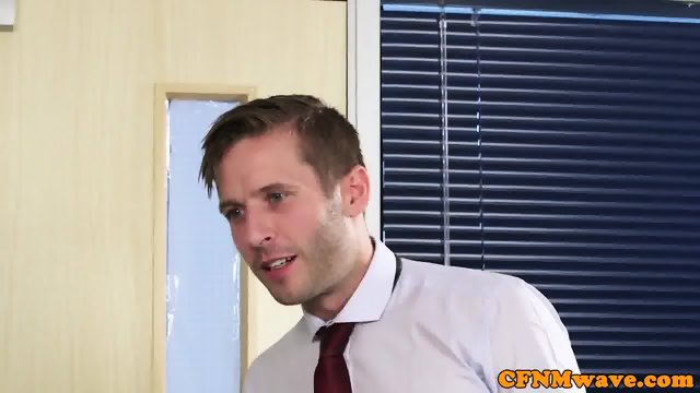 CFNM office babe sucking off cock - scene 3