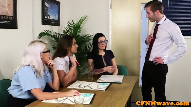 CFNM office babe sucking off cock - scene 4