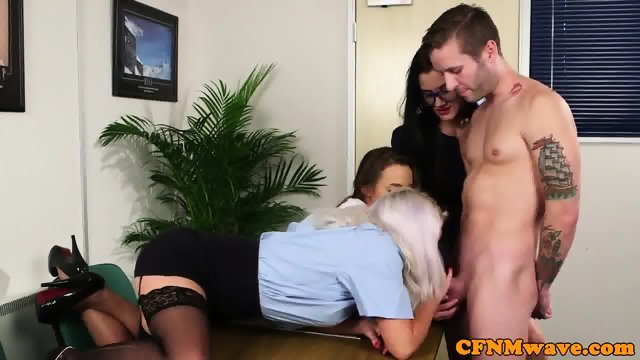 CFNM office babe sucking off cock - scene 6
