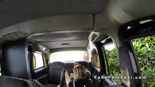 Redhead licks blonde cab drivers cunt in her fake taxi