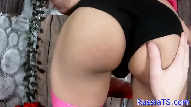 Russian trans toying her ass until cum