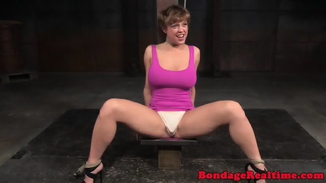 Bonded submissive humiliated at the dungeon