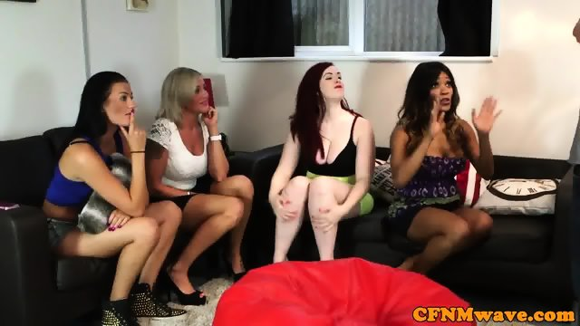 Cheeky CFNM babes jerking off cock in group