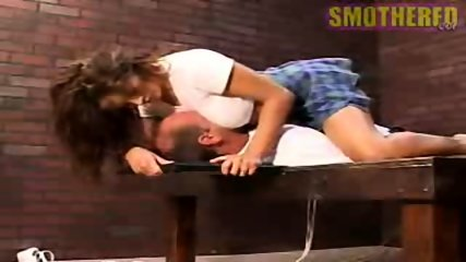 Really hot chick facesitting and smothering with boobs - scene 9