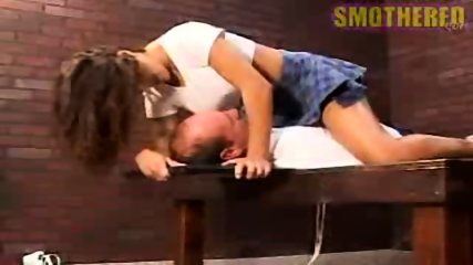 Really hot chick facesitting and smothering with boobs - scene 11
