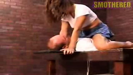 Really hot chick facesitting and smothering with boobs - scene 12