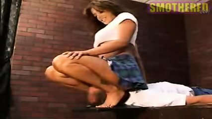 Really hot chick facesitting and smothering with boobs - scene 7