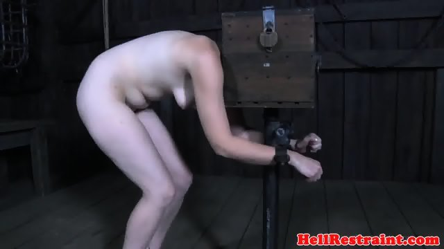 Spreadeagle bdsm sub has feet oiled