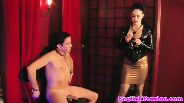 Smoking bdsm femdom makes sub worship heels