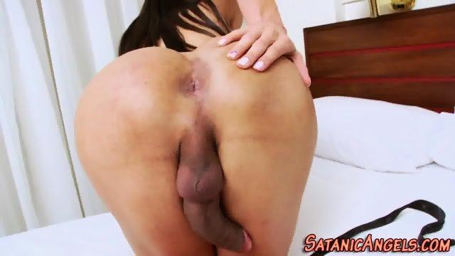 Tranny tugs her big dick