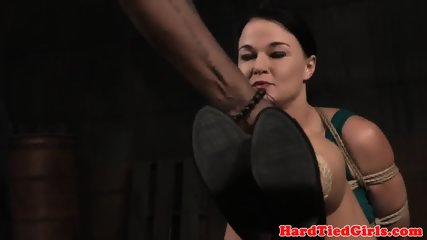 Bound bdsm sub whipped by black dom