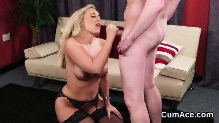 Wicked sex kitten gets jizz load on her face swallowing all the cum
