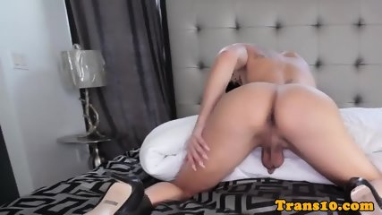 Gorgeous trans sensually stroking her cock - scene 6