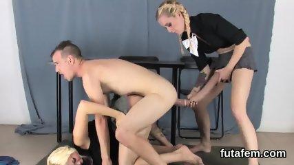Girls nail boyfriends asshole with massive strap dildos and splash jizm - scene 10