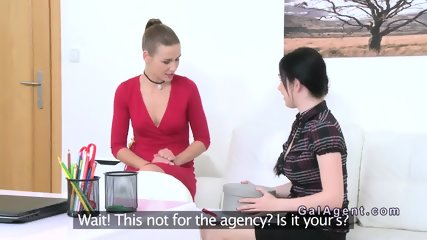 Brunette with sex toy fucks female agent - scene 3