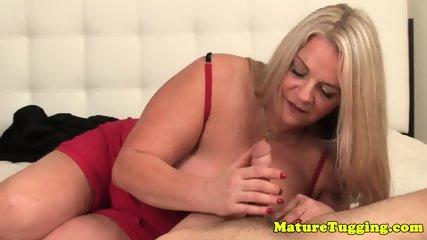 Bigboob granny pov tugging cock