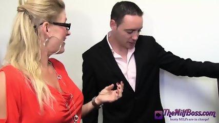 Fingering Blonde Mature Boss - scene 2