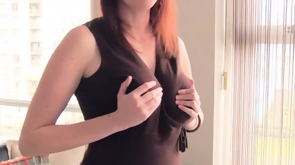 pretty Ellinude secretary strips and plays with her pussy - scene 1