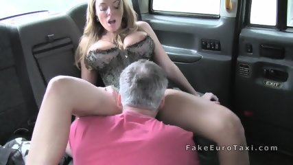 Huge tits blonde in corset fucks in fake cab - scene 8
