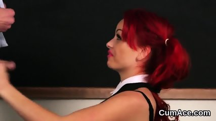 Kinky doll gets cum load on her face swallowing all the love juice - scene 8
