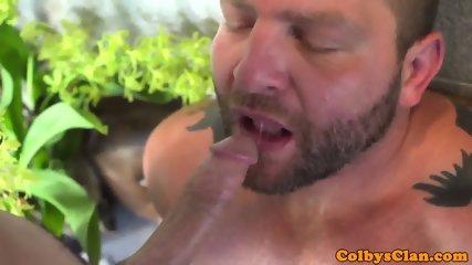 Cocksucking inked jock railing bottoms ass - scene 8