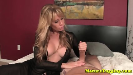 Bigtitted mature tugging cock