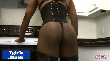 Black lingerie tgirl godess wanks uncut cock