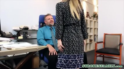 Stepdaughter and stepdad end up fucking at the office floor