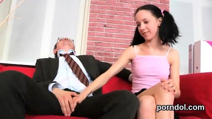 Lovesome college girl was teased and fucked by her older teacher