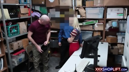 Shoplifter cutie fucks with an officer while her BF watching