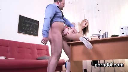Cuddly college girl gets tempted and penetrated by her older schoolteacher