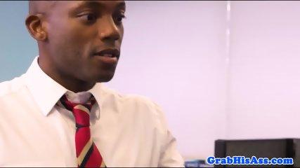 Interracial office sex with jocks fucking