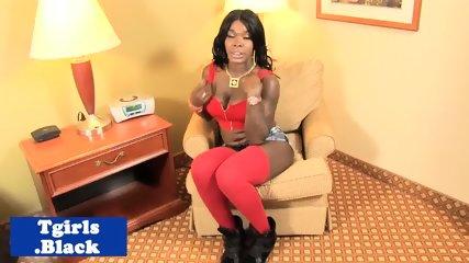 Black shemale models her body