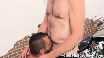 Chubbybear sucking and fucking hard dick