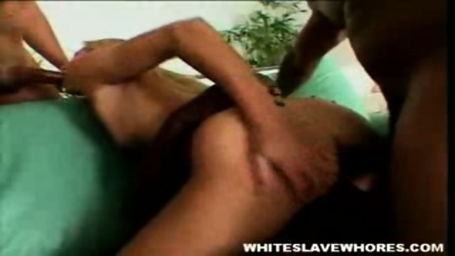 White whores holes filled by three black dicks