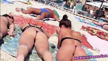 Hot Bikini Teens Thong Asses Tanning At The Beach - scene 5