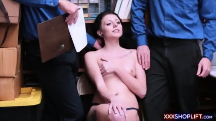Cute shoplifter banged by two securitly guards