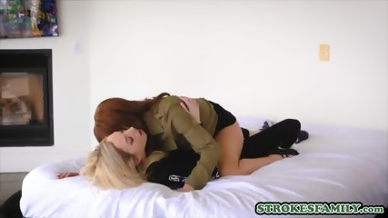 Mom and her stepdaughter doing some hot lesbian scissoring
