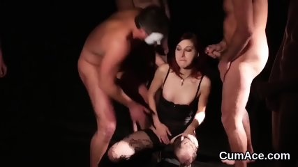 Hot beauty gets sperm shot on her face swallowing all the jizz