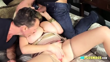 Experienced Lady Handles Two Cocks