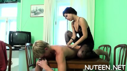 Teen pounding action