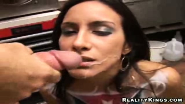 Hot latina facialised