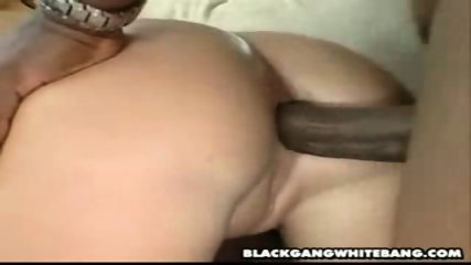 Four black dicks ravage a white slut - scene 8
