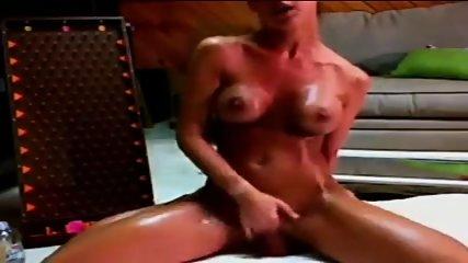 Busty Brunette Oils Up & Rides Dildo - scene 8