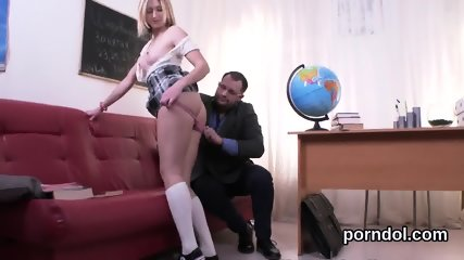 Pretty college girl is seduced and rode by her older schoolteacher