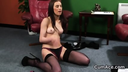 Unusual looker gets cum load on her face eating all the cum
