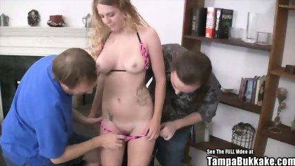 Teen Big Tit Blonde Fucked by 2 Older Dicks