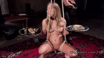 Bound blonde gets double penetration